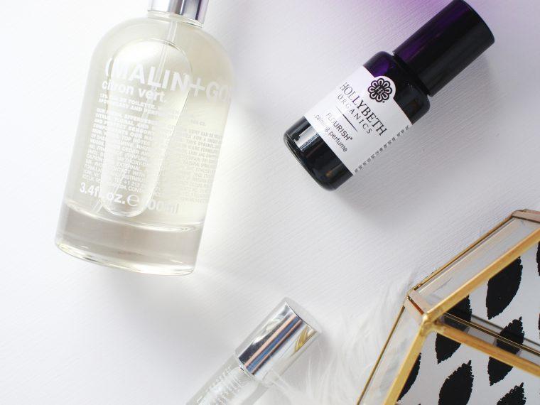 3 light fragrances- Malin + Goetz Citron Vert, By Rosie Jane Tilly, Hollybeth Organics Flouish