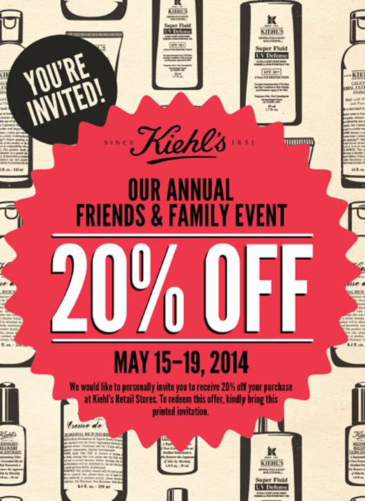 kiehls friends and family coupon