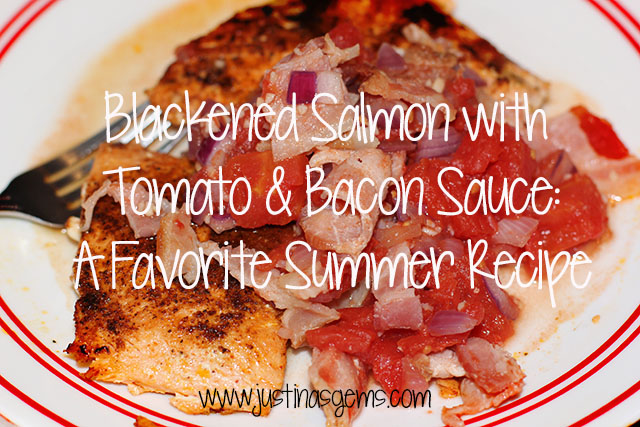 blacked salmon and bacon tomato sauce