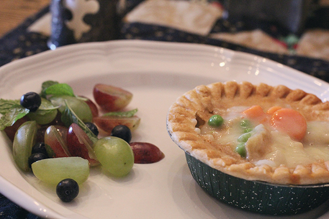 pot pie and mint fruit salad