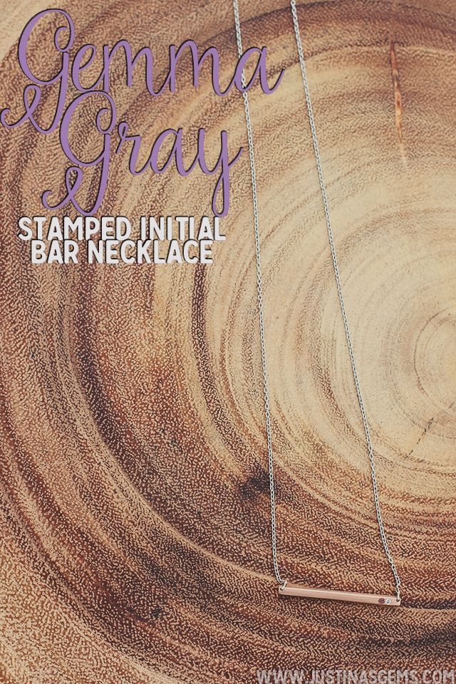 gemma gray stamped initial bar necklace