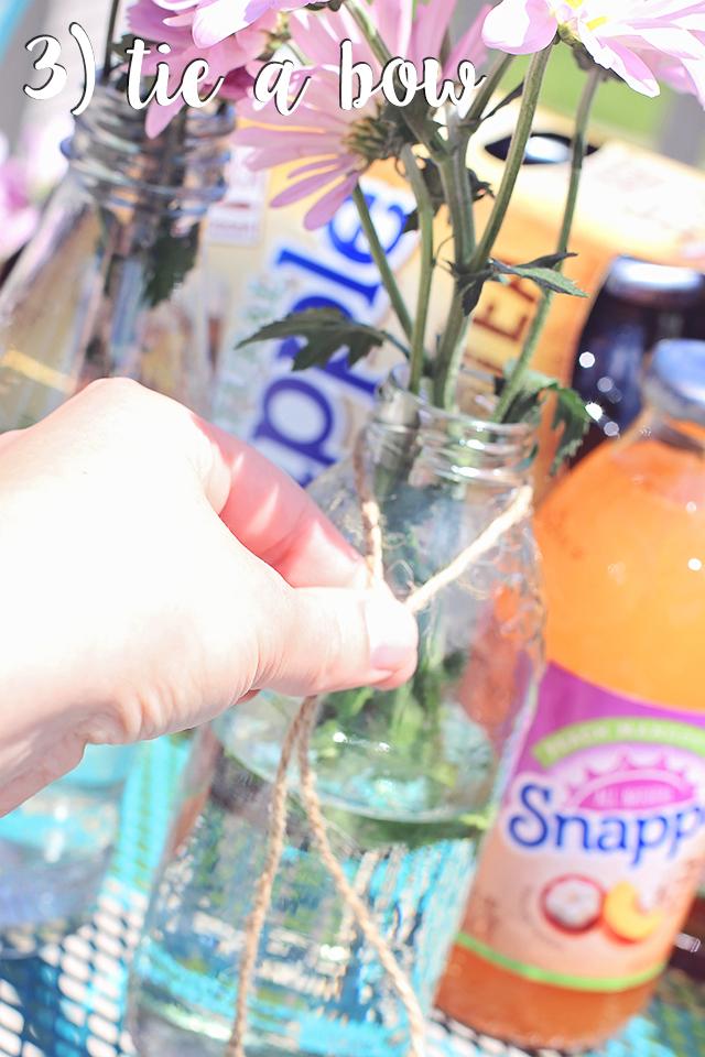 homemade vase of flowers