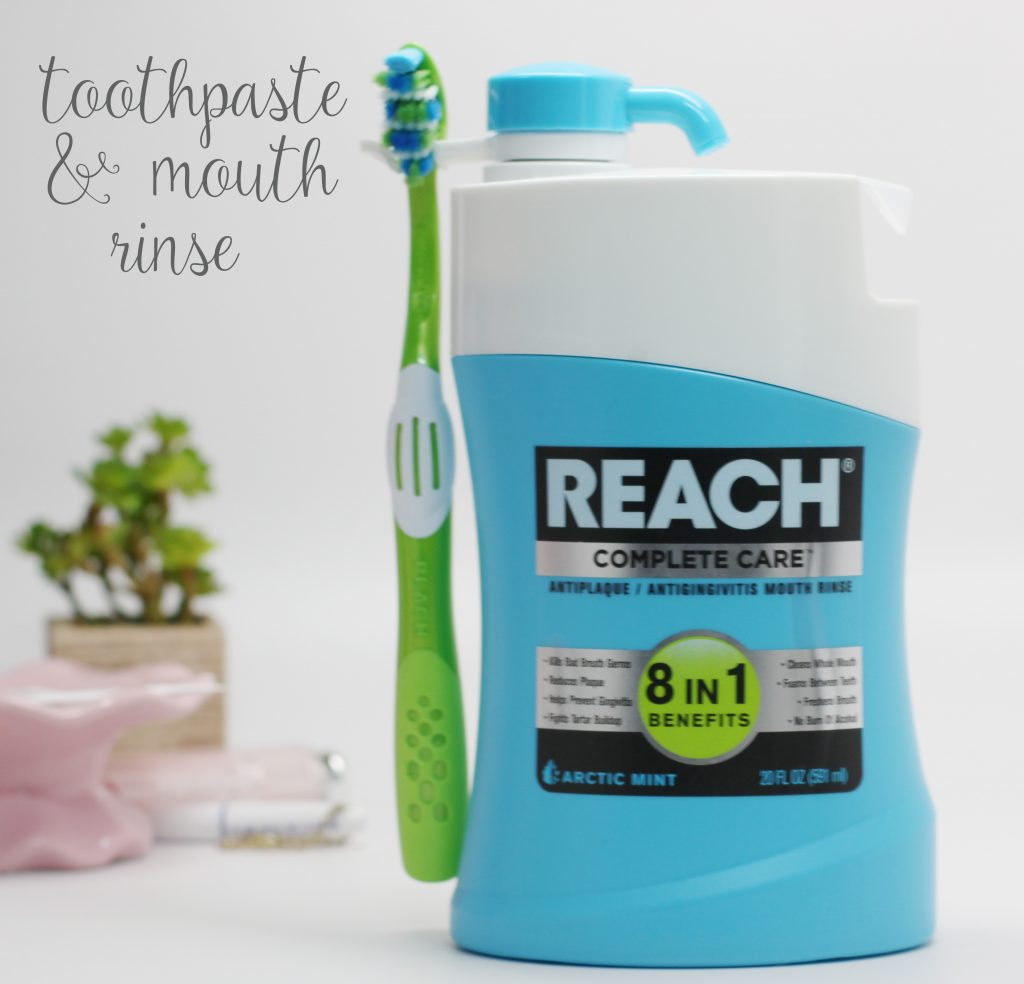 toothpaste and mouth rinse