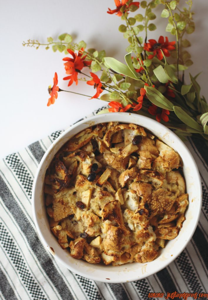 easy to make, 8 ingredient, low fat bread pudding recipe