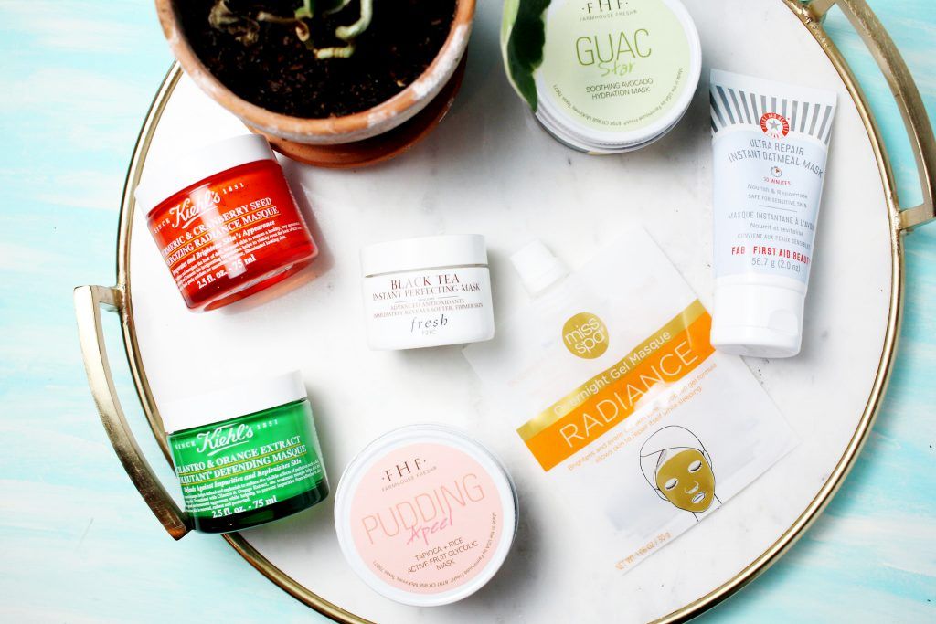 Facial Masks for Spring- Ready Skin: Turmeric & Cranberry Seed Energizing Radiance Masque, Cilantro & Orange Extract Pollutant Defending Masque, Miss Spa Overnight Gel Masques, Fresh Beauty Instant Perfecting Mask, First Aid Beauty Instant Repair Oatmeal Mask, Pudding Apeel- Tapioca + Rice Active Fruit Glycolic Mask, Guac Star- Soothing Avocado Hydration Mask