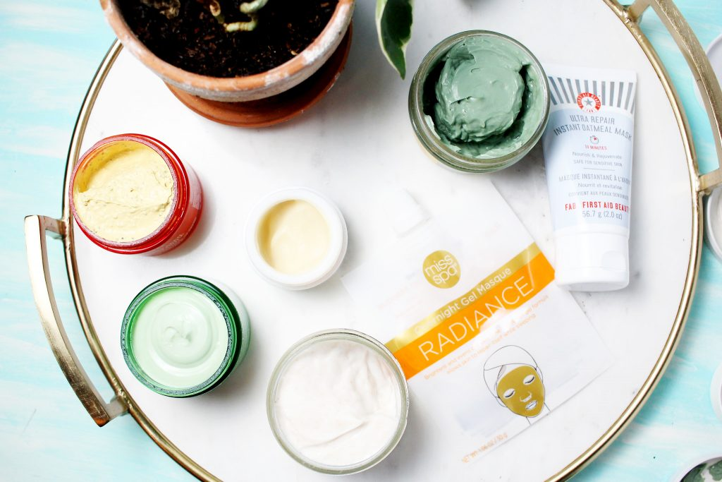 Facial masks for Spring-ready skin: Turmeric & Cranberry Seed Energizing Radiance Masque, Cilantro & Orange Extract Pollutant Defending Masque, Miss Spa Overnight Gel Masques, Fresh Beauty Instant Perfecting Mask, First Aid Beauty Instant Repair Oatmeal Mask, Pudding Apeel- Tapioca + Rice Active Fruit Glycolic Mask, Guac Star- Soothing Avocado Hydration Mask
