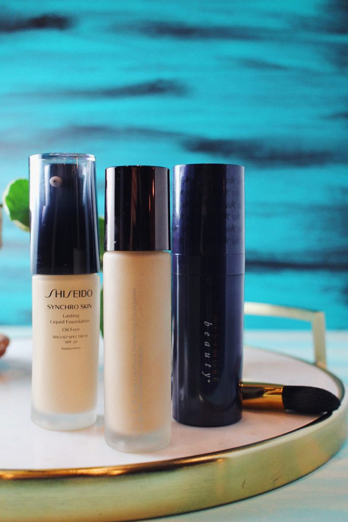 Three Foundations to Try- Shiseido Synchro Skin, Becca Aqua Luminous Perfecting, Westmore Beauty