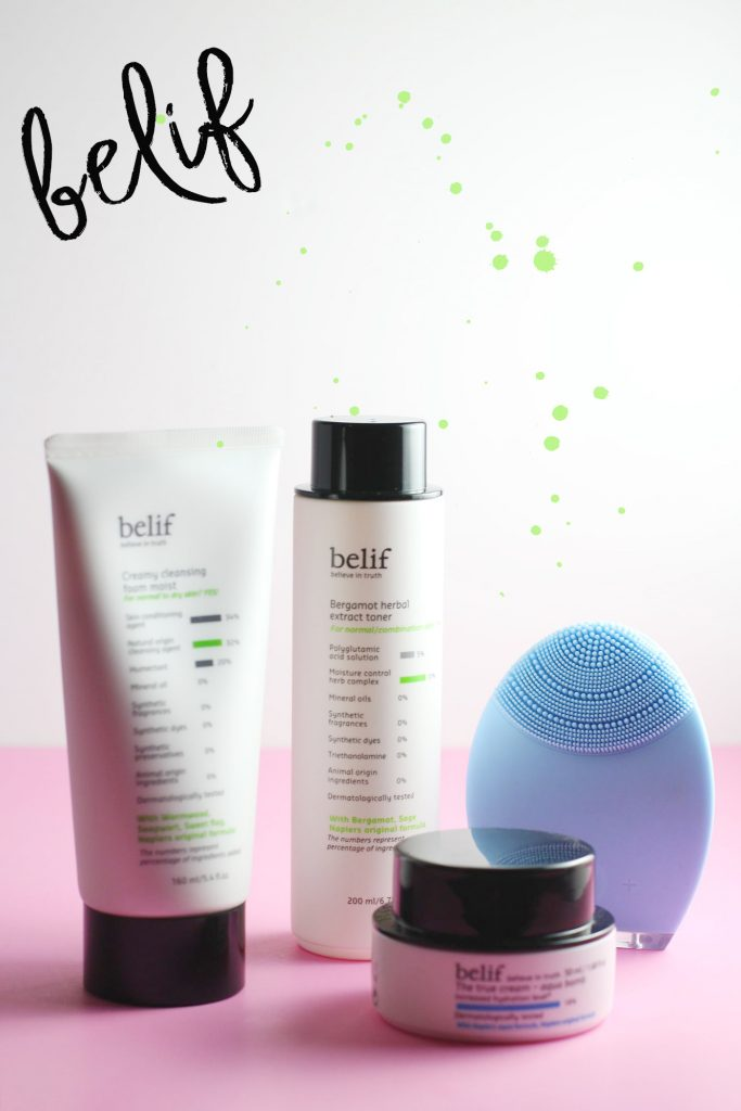 Belif Skincare line- Creaming Cleansing Foam Moist, Bergamot Herbal Extract Toner, The Truth Cream- Aqua Bomb