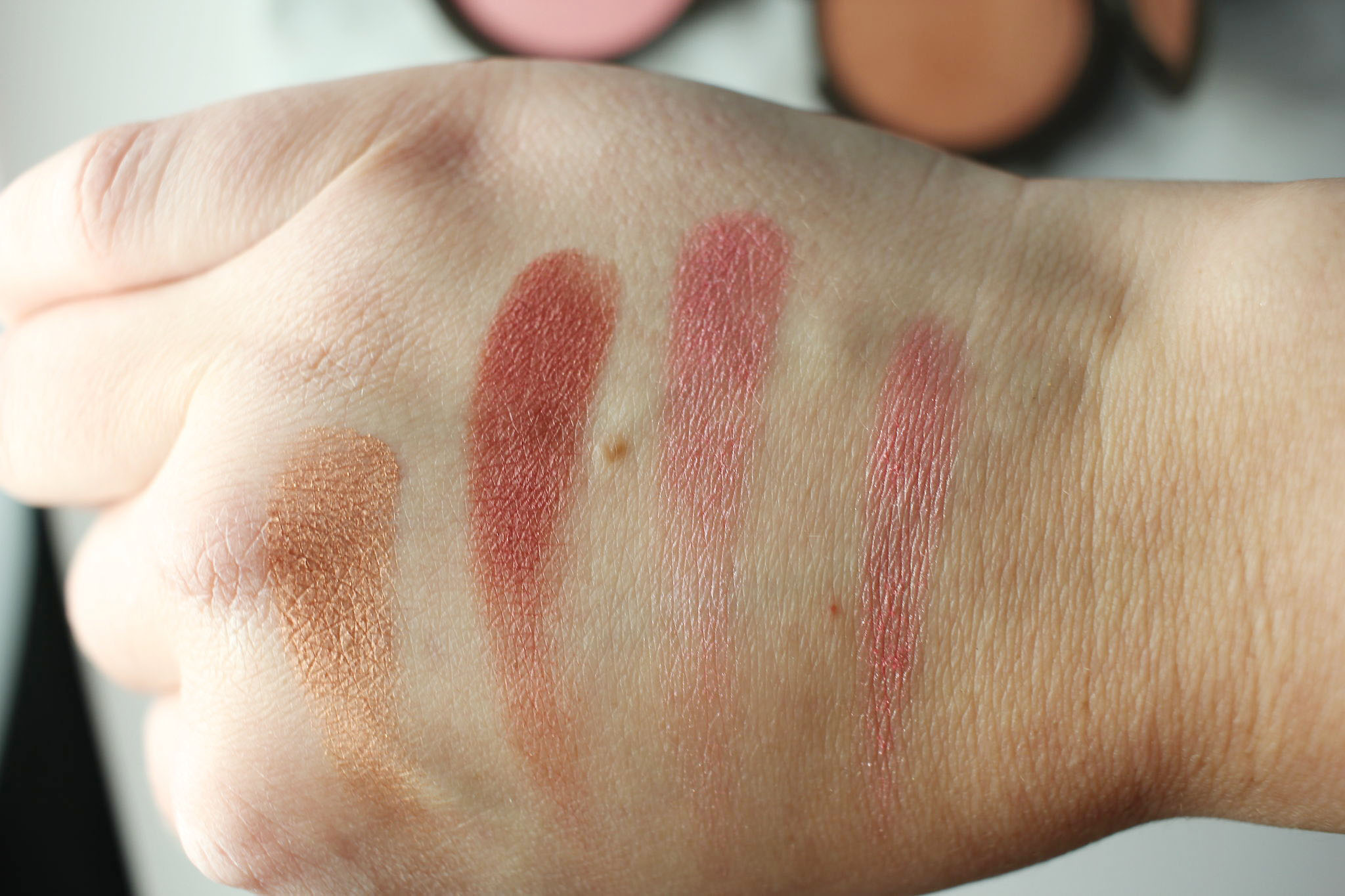 Becca Luminous Blush Swatches, Blushed Copper, Dahlia, Foxglove, Camellia copy