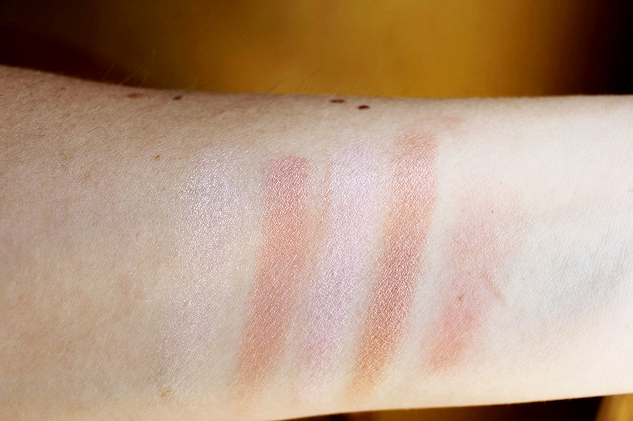 Jane Iredale Rose Dawn and Flirt swatches