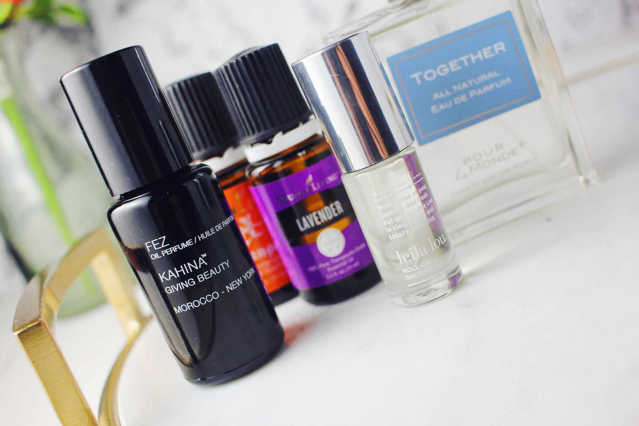 Kahina Giving Beauty Fez Perfume, Pour Le Monde Together Perfume, Leila Lou By Rosie Jane, Young Living Orange and Lavender