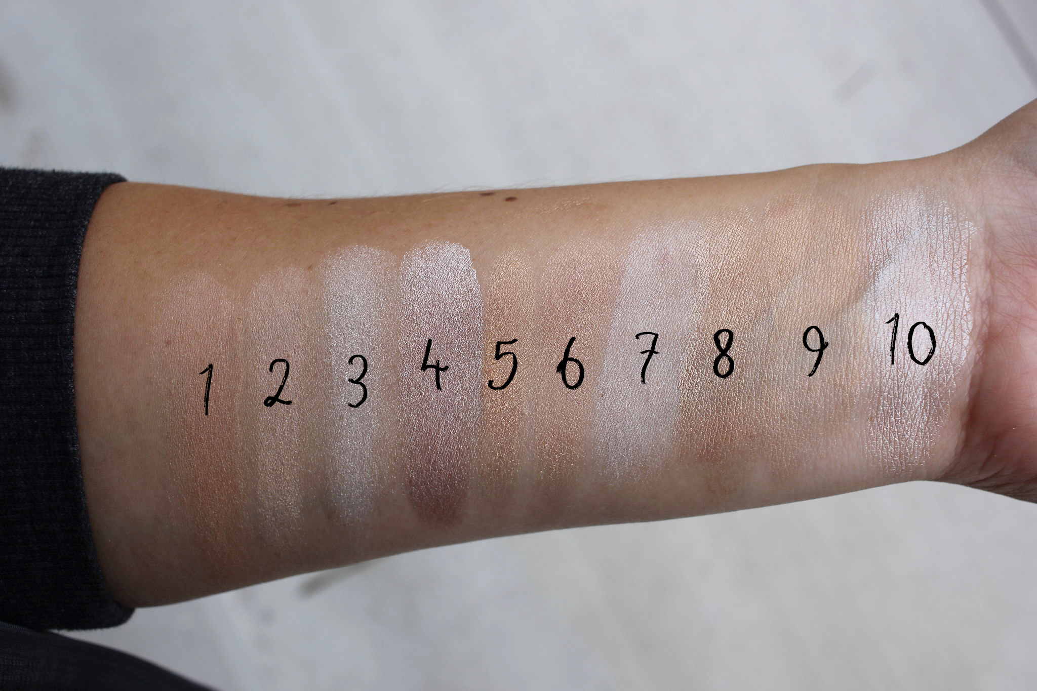 My favorite highlighters comparison swatch | The Best Highlighter Cover FX Celestial | The best highlighter | Most popular highlighter | Best anti aging highlighter | Best high end highlighter | Best highlighter for wrinkles