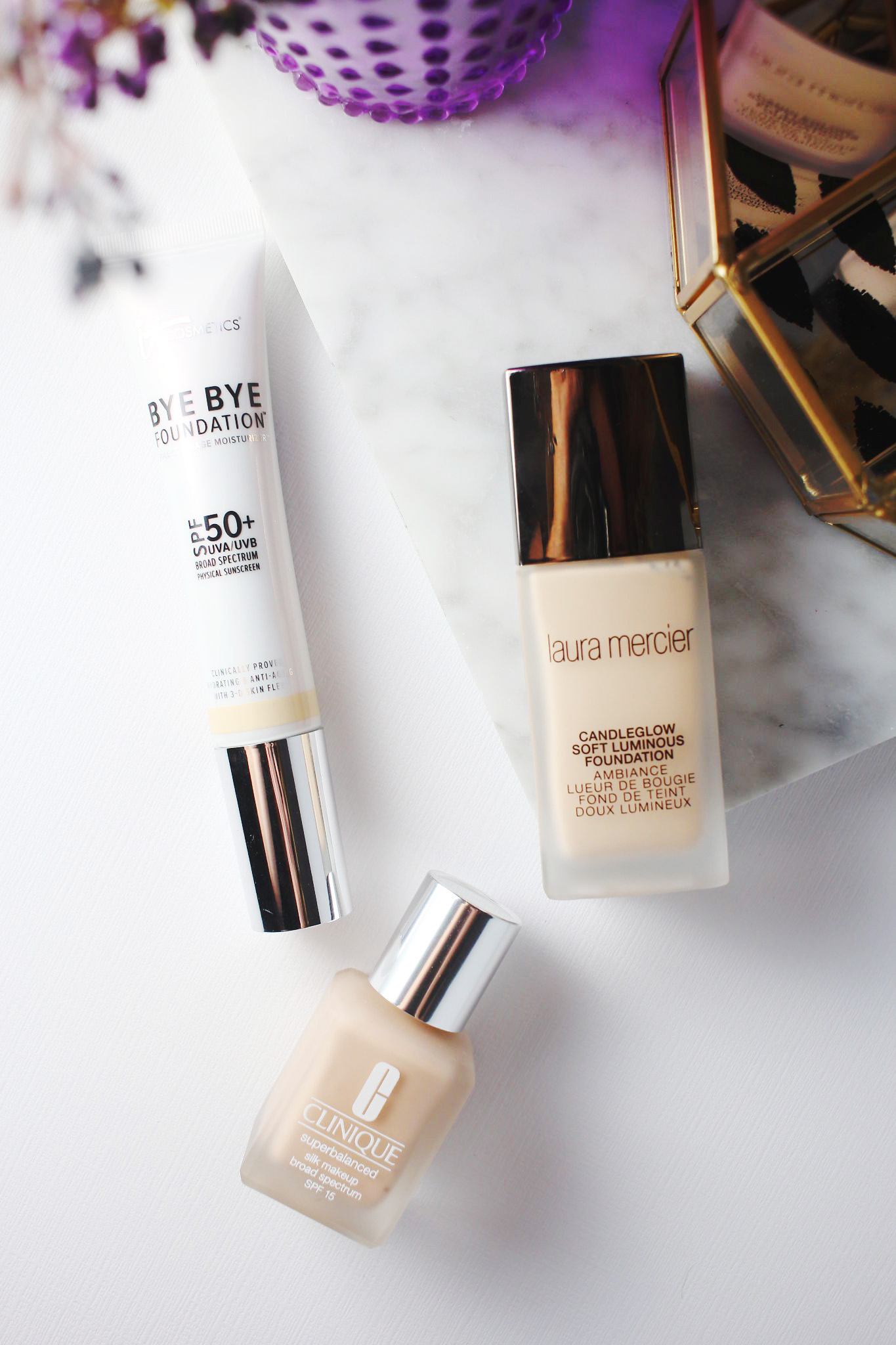 3 Foundations to try for fall- It Cosmetics Bye Bye Foundation, Clinique Superbalanced Silk, Laura Mercier Candleglow Soft Luminous Foundation
