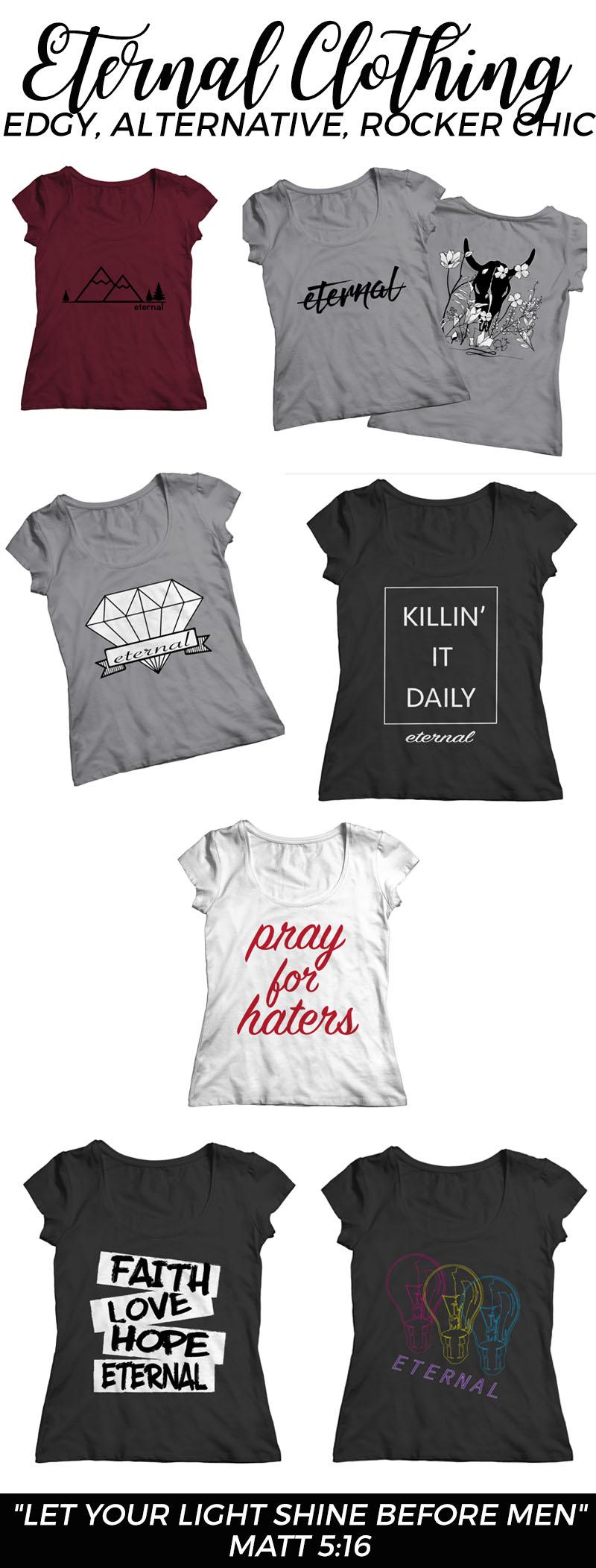 Bible scripture inspired rocker chic/alternative clothing for women     www.eternalclothingco.com