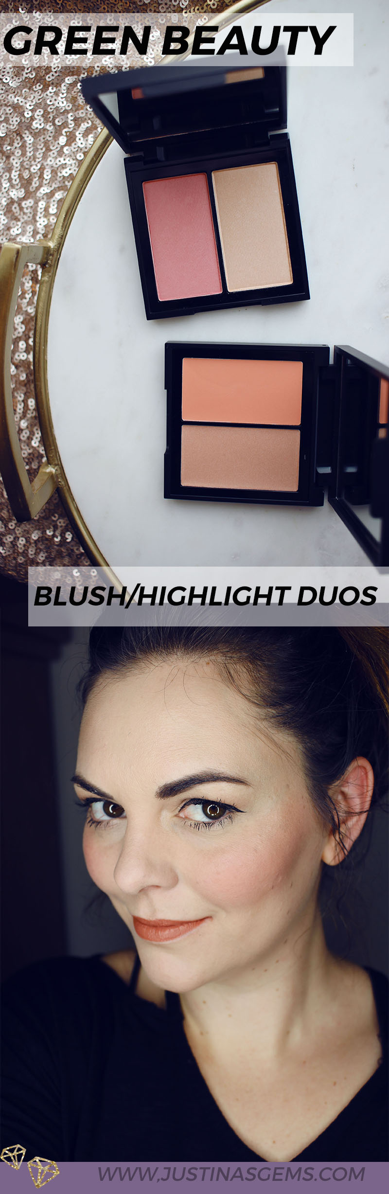 Green Beauty Blush/Highlight Duos: Some of the best and most pigmented, buttery blush/highlights out there!