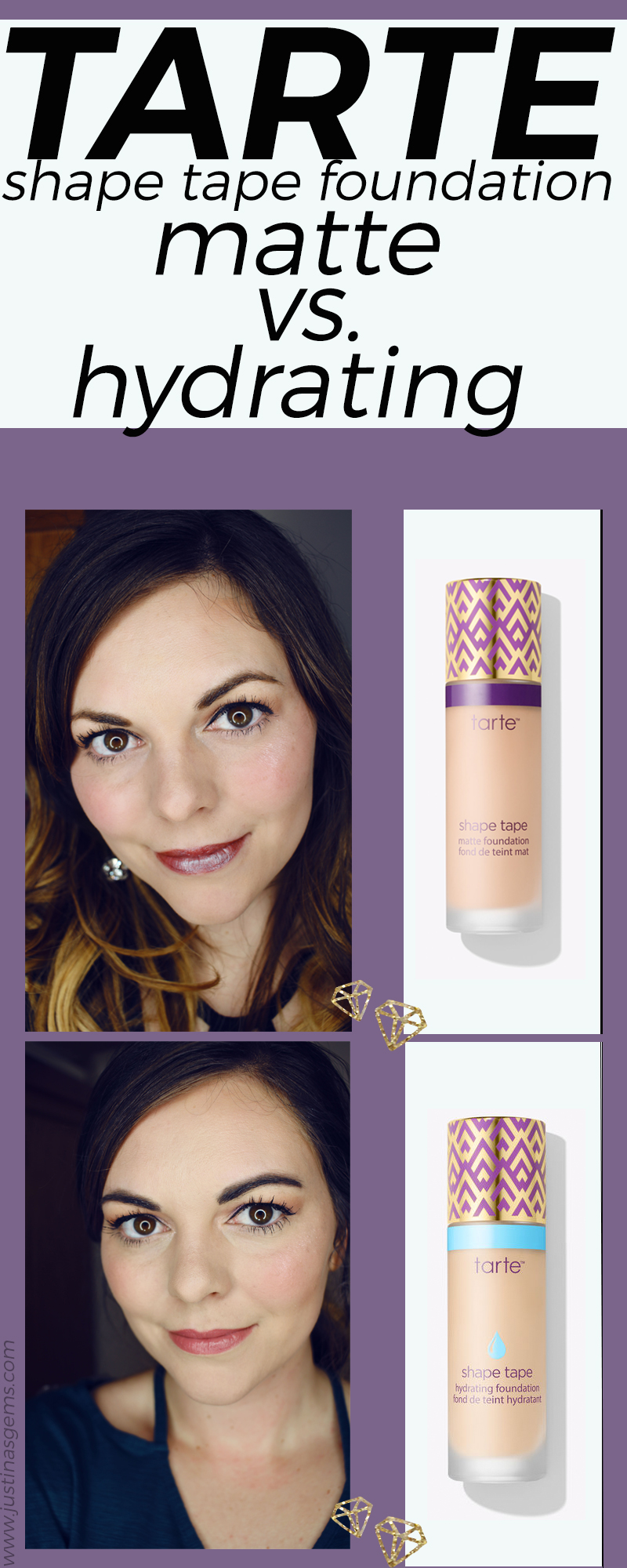 Comparing Shape Tape Matte and Hydrating Foundations by Tarte Cosmetics on fair skin