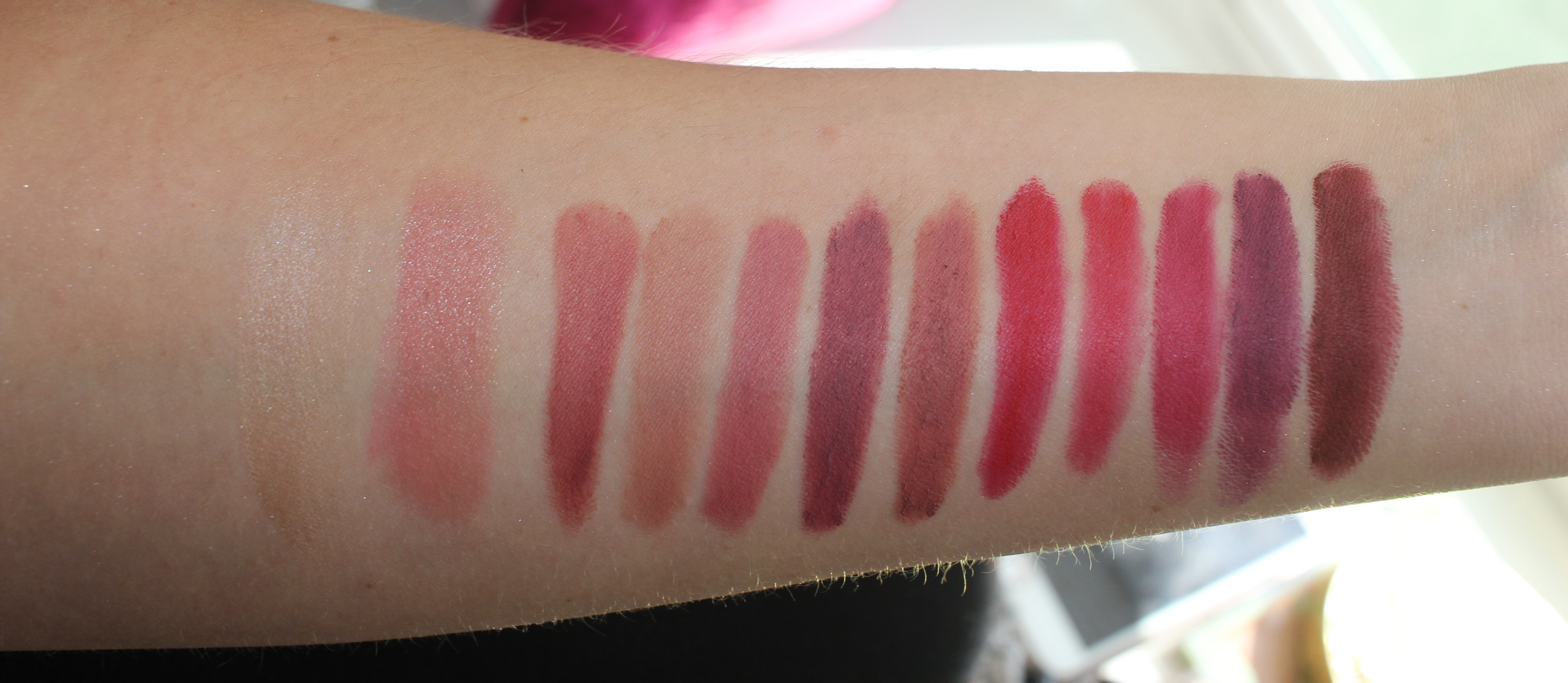 Buxom Pillow Pout Lip Powder swatches: Soft Whisper, Cuddle Me, Darling Dolly, So Spicy, Cozy Up, Kiss Me, Turn Me On, Spoil Me, Want You, Seduce Me