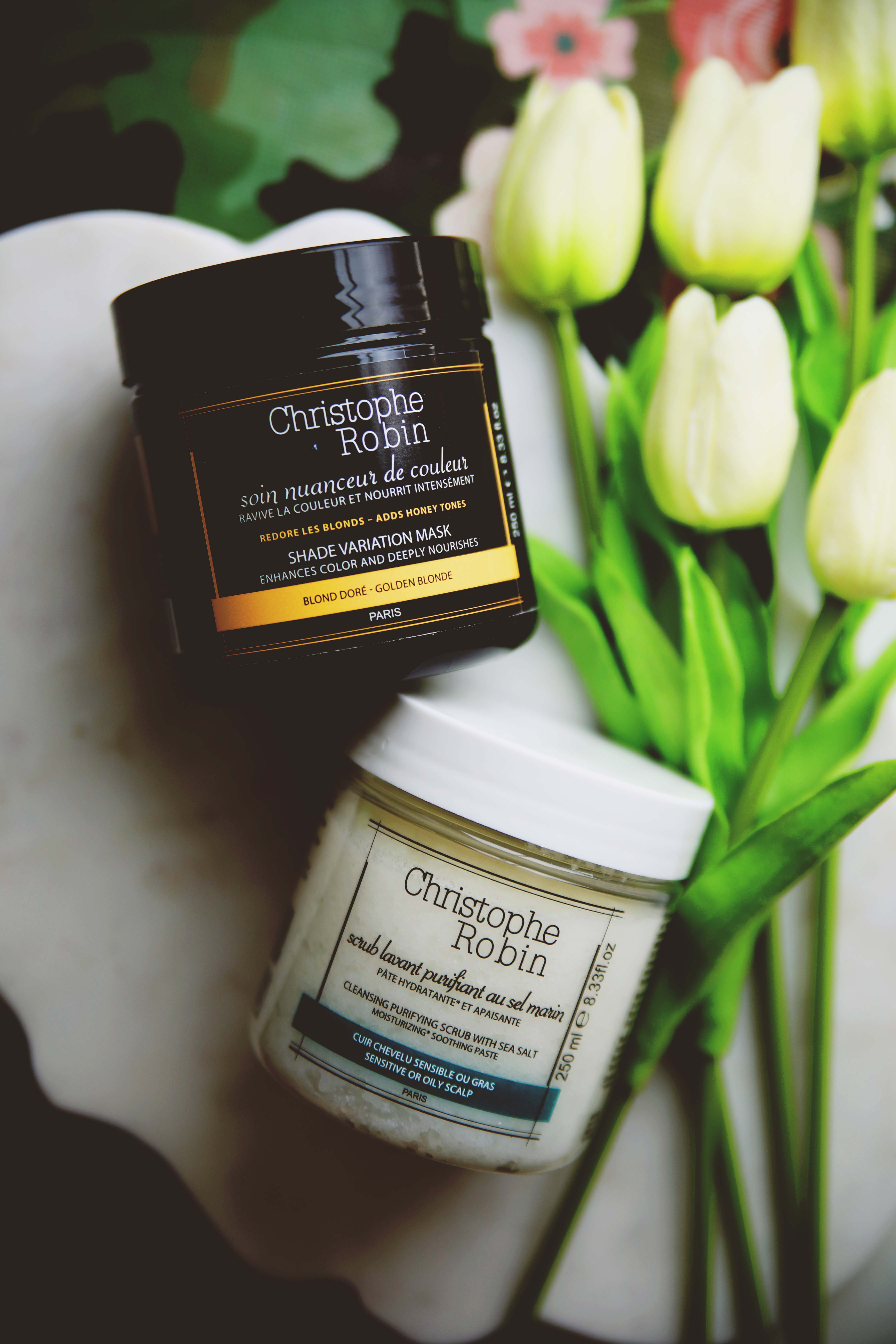 Christophe Robin Shade Variation Mask in Golden Blonde, Christophe Robin Cleansing Purifying Scrub with Sea Salt
